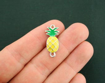 6 Pineapple Connector Charms Connector Silver Plated and Green and Yellow Enamel Fun and Colorful - E353