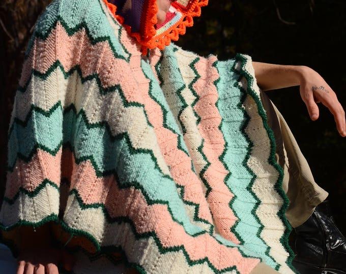 Crochet Poncho Orange Hoodie