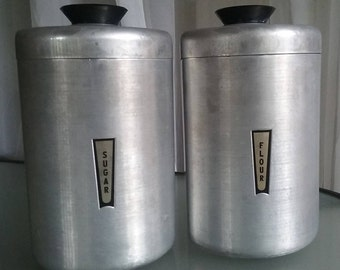 Aluminum Flour and Sugar Tins, Vintage Kitchen Storage, Brushed Aluminum, Set of Two Containers, Black Handles, Kitschy Kitchen, Canisters