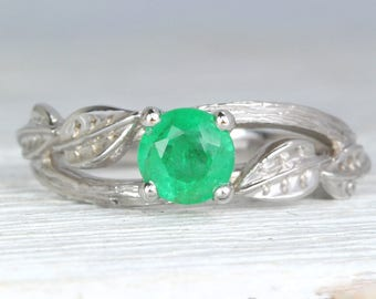 Twig Natural Emerald Engagement Ring, Leaves Ring, Vintage Bark Ring, Unique Ring,Alternative Ring, Nature Inspired, 14K, May Birthstone