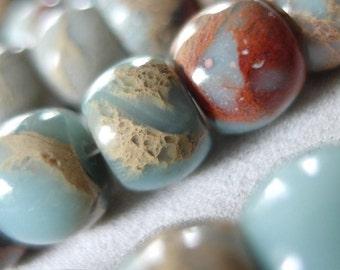 """16"""" strand 12mm Aqua Terra Jasper Rondelle Beads, 42 beads"""