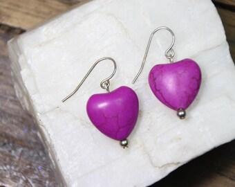 """Fuchsia Hot Purple Magnesite Gemstone Valentine Heart Shape 15mm x 16mm 925 Sterling Silver Wire earrings 1.25"""" Long"""