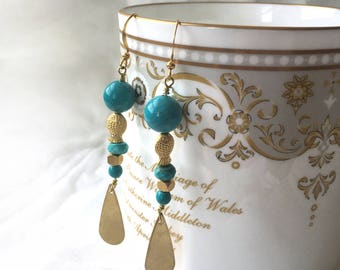 Natural turquoise earrings. Gold turquoise earrings. Turquoise jewelry. Long turquoise earrings. Pisces. Boho turquoise. Bright Fish Jewelry