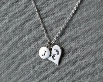 New Baby Necklace, Mother to be Jewelry, Baby Footprint Necklace, Baby Shower Necklace, Gift for New Mom Necklace