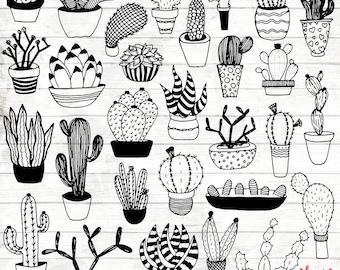 Succulent Clipart - Hand Drawn Cactus Clipart - Potted Cactus Art - Cactus Digital Paper - Cactus Clip Art - Cactus Illustration - ACGABW02