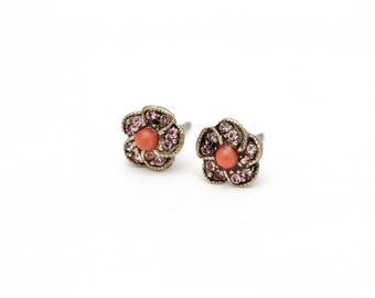 5 Petal Flower Swarovski Crystal Stud Earrings