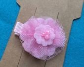 Pink Princess Tutu Tulle and Felt Flower Hair Bow Clip