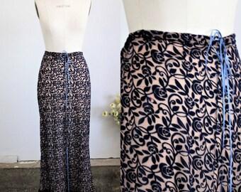 Vintage 1990s Burnout Floral Maxi Skirt / IS Long Skirt Brown Velvet Trim Size Medium / Drawstring Waist / Full Length / Floor Length