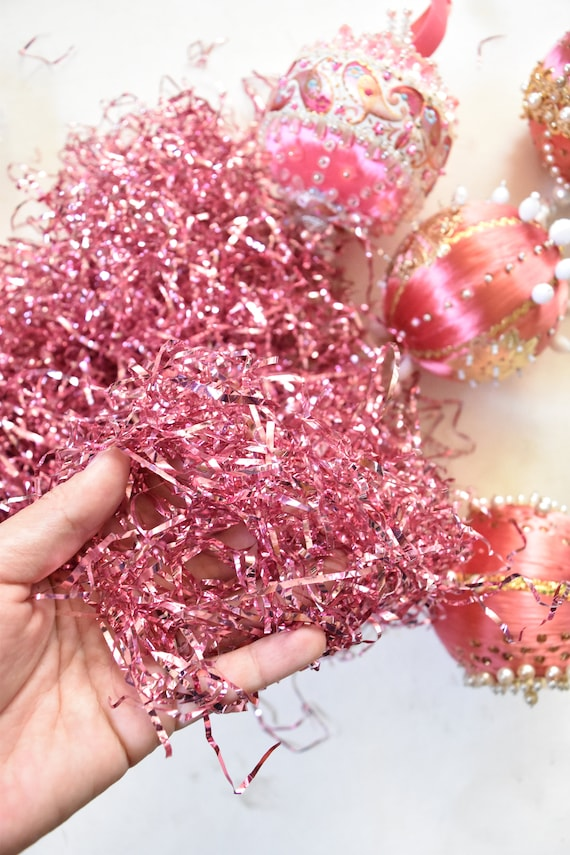 large bag of vintage shiny pink christmas tree tinsel