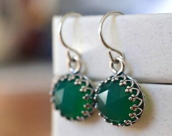Green Onyx Earrings, 10mm Gemstone Dangles, Dangly Sterling Silver Bridal Earrings, Green Stone Wedding Earrings, Handmade Onyx Jewelry