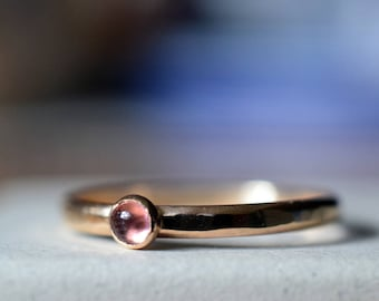 Tiny Pink Tourmaline Ring, Natural Gemstone Ring, 14K Gold Filled Stack Ring, Promise Jewelry, Hammered 14K Gold Filled Stacking Band