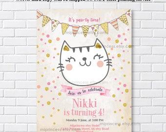 Cat invitation, Cat Party, kitten CAT Birthday Invitation, kids, 1st 2nd 3rd 4th 5th 6th 7th 8th 9th 10th kids party ,  card 1169
