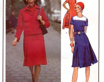 Vogue Paris Original 2679 Vintage 70s Sewing Pattern by Molyneux for Misses' Dress and Jacket - Size 14 - Bust 36