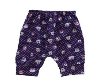 Girl Harem Shorts, Owl Baby Pants, Toddler Pants, Drop Crotch Summer Shorts, Purple Shorts