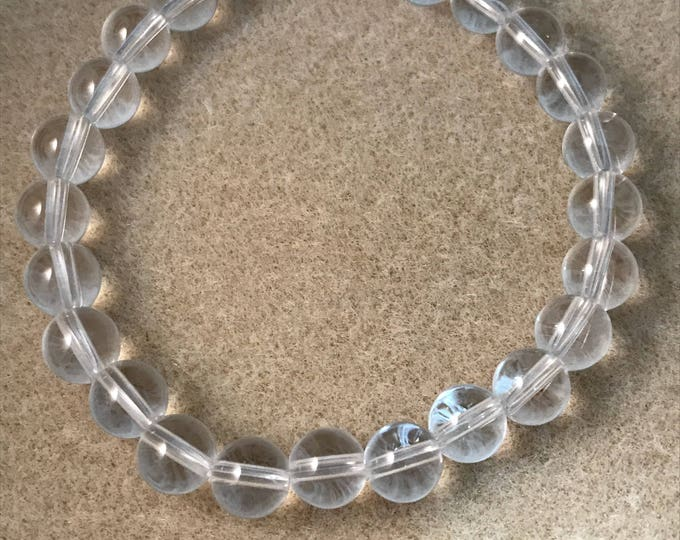 Quartz Bracelet, Clear Quartz Bracelet, Stretch Bracelet, 8mm Bead Bracelet, Rock Crystal Quartz, Quartz Beaded Bracelet