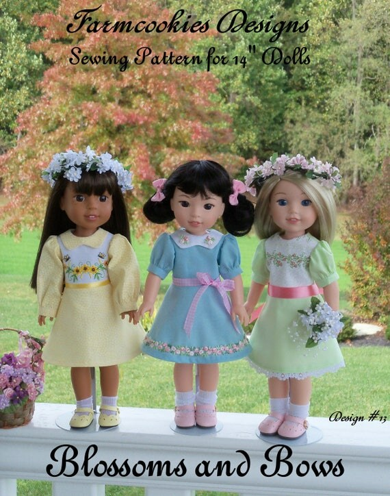 "New!!  14"" Welie Wisher® Size PRiNTED Sewing Pattern: BLOSSOMS and BOWS /A-Line Dress Pattern for 14"" American Girl Wellie Wisher® Dolls"