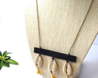 Black Leather, Cowrie & Golden Pearl Bead Necklace | Afro Minimalist Boho Chic Bohemian Vintage