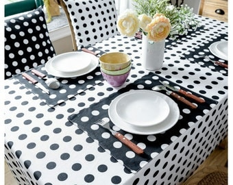 Tablecloth White Base Black Polka Dots Rectangle Square Round Oval Dining,Coffee Table,Cafe,Party,Wedding,Gift--Country,Rustic,FREE GIFT