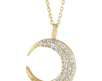 14K Gold Diamond Moon Necklace, Pave Diamond Moon Necklace, Rose Gold Moon Diamond Necklace, Yellow Gold Diamond Crescent Moon Necklace