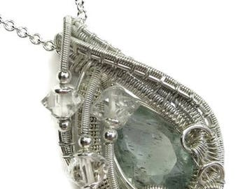 Natural Aquamarine Wire-Wrapped Pendant in Tarnish-Resistant Sterling Silver with Herkimer Diamonds