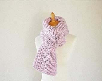 Pastel Pink Knit Scarf, Chunky Knitted Scarf, Pure Wool Scarf