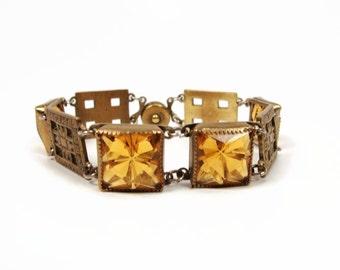 ART DECO Glass Brass Floral Link Bracelet, Snap Clasp, Topaz Glass, Vintage Jewelry, Czech Bracelet, Antique Jewelry, Orange Bracelet