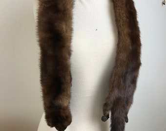 Vintage Full Body Mink Pelts Scarf Collar Stole Boa With Clip Foot Tassels