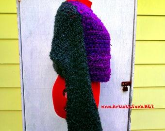 CUSTOM For Cathy-Convert Specialty Yarn LS Shrug To V Neck Long Funky Boho Sweater