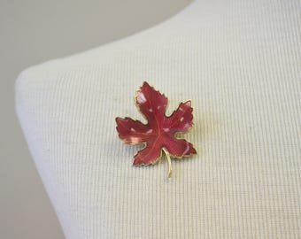 1960s Red Enamel Leaf Brooch