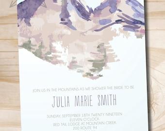 Watercolor Mountain Bridal Shower Invitation, Mountain Shower Invitation, Bridal Shower Invite  - Printable or printed invitations