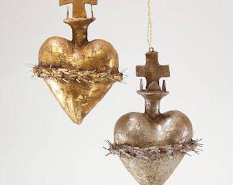 """Thorned Sacred Heart Ornament Embellishment Decor 6"""""""