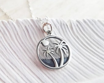 Palm Trees Necklace, Palm Trees Sterling Silver Necklace, Silver Palm Trees Necklace, Palm Trees Charm Necklace, Island Jewelry, Beach Charm