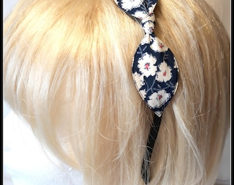Navy with white flowers bow headband