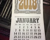 2018 Antique Woodtype Letterpress Pad Calendar