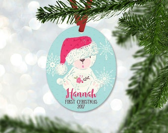 Personalized First Christmas Ornament, Baby Girl Keepsake Ornament, Baby's 1st Christmas, Christmas Bear with Hat, Christmas Gift (046)
