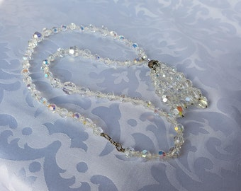 Crystal Aurora Borealis Necklace, Tassel Style Aurora Borealis Necklace, Crystal Necklace, Necklace, Wedding Jewelry