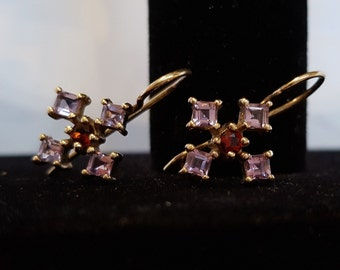 Gold Plated Sterling Amethyst and Garnet Cross Earrings, Gold Plated Cross Earrings, Earrings, Cross Earrings