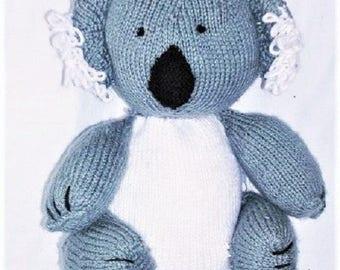 "Knitted 12"" KOALA BEAR,  Stuffed Koala Bear, Hand Knit Bear"