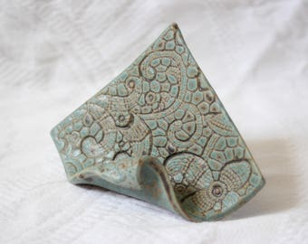 Business Card Holder in Turquoise, Vintage Lace Stamped & Handbuilt from a Slab of Clay