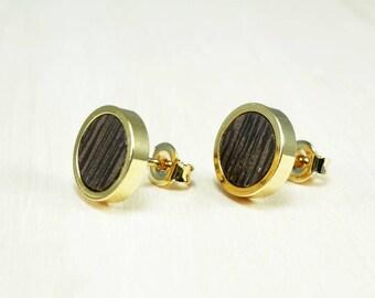 Black gold studs earrings, Wooden ear studs, Gold earrings, Tiny round studs, Natural wood studs, Simple wood earrings, Mini stud earrings