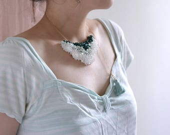 Green wings - green stone beaded tassels necklace. Oxidized metal jewelry. Green and white necklace. Style 169. Ready to ship
