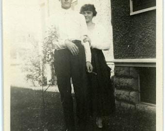 "Vintage Photo ""Edward and His Girl"" Snapshot Antique Black & White Photograph Found Paper Ephemera Vernacular Interior Design Mood - 127"
