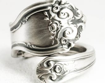 Small Victorian Rose Ring, Sterling Silver Spoon Ring, Antique Wallace Silver 1888, 925 Handmade Gift for Her, Adjustable Ring Size (7017)