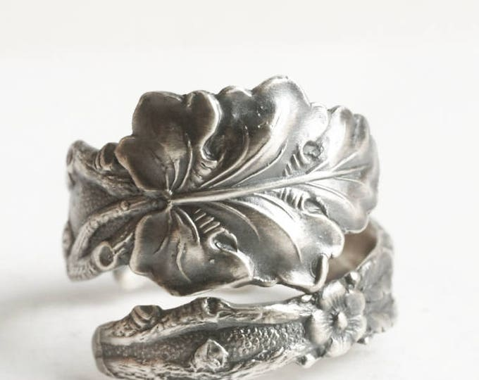 Oak Leaves Ring, Sterling Silver Spoon Ring, Floral Ring, Botanical Organic Nature Inspired, Leaves & Flowers, Adjustable Ring Size (6492)