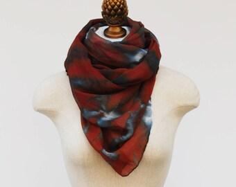 rorschach pattern, burgundy and gray, animal print, silk chiffon scarf by 88editions
