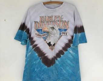 Vintage 90s Harley Davidson Tie Dye Eagle Motorcycles T Shirt XL