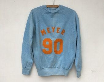 Vintage 70s/80s MEYER 90 Blue & Orange Flocked Lettering Sweatshirt M