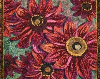 Cherry Brandy Rudbeckia Art Quilt Pattern