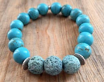 Turquoise Essential Oil Diffuser Bead Bracelet