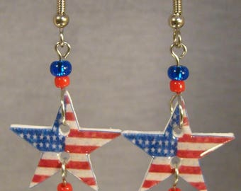 Stars and Stripes American Flag dangle earrings - July 4th Jewelry - Americana Star jewellery